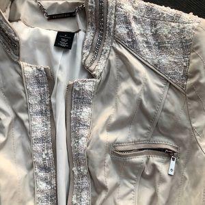 White House Black Market Jackets & Coats - White House Black Market Tweed Trim Satin Feel